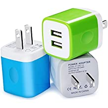 Wall Charger, Kakaly 3-Pack 2.1Amp USB Wall Adapter Dual Port Quick Charger Cube for any iOS or Android Devices: iPhone, iPad Samsung and More.Charger Base,Charger Brick ,Charger Blocks, USB Brick