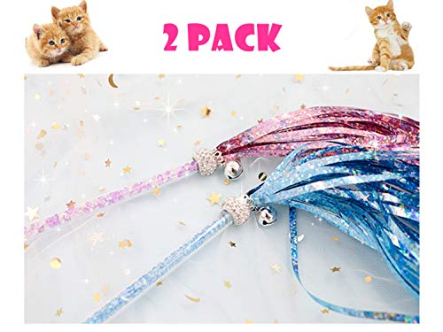 - Fairy Cat Stick Cat Toys, Interactive Teaser Cat Wand with Sound Paper Tassels of Blue & Purple (2pcs) and Bells,Cat Toys for Cats,Kittens