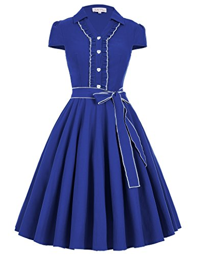 Women's Knee-Length Swing Dress with Removable Belt