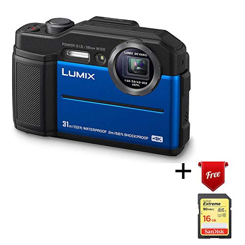 Panasonic Lumix Waterproof Digital Camera - This TS7 Tough Wi-Fi Camera with 3 Inch LCD, 20.4 Megapixels, 4.6X Zoom Lens - Blue - DC-TS7A (Renewed)