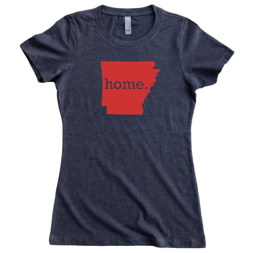 Homeland Tees Women's Arkansas Home State T-Shirt Medium (Ar Red Charcoal)