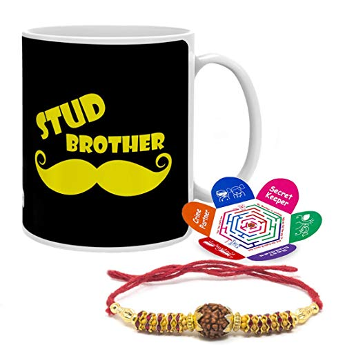 Indigifts Rakhi Gift Bro is a Friend Forever Quote White Set of Novelty Coffee Mug 11oz, Rakhi and Greeting card - Gift for Brother Coffee and Tea Cup - 11oz