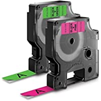 Genuine DYMO 1/2 (12mm) Green & Pink Neon 2-Pack D1 Label Tape for Electronic Dymo LabelManager 210D Label Maker