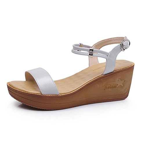 Studenten Schuhe High 37 mit Sandalen Koreanische größe Dicken Heel Gray Slope Sommer Jingsen Farbe a0fqZZ