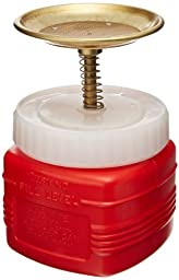 Justrite 14018 Polyethylene Nonmetallic Plunger Safety Can, 1 liter Capacity, Red