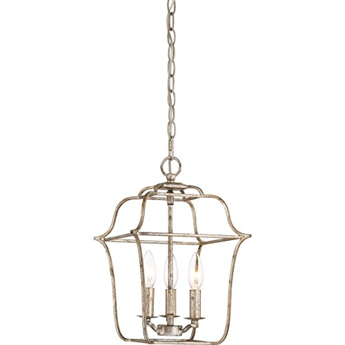 (Quoizel GLY5203CS Gallery Lantern Foyer Pendant Lighting, 3-Light, 180 Watts, Century Silver Leaf (15