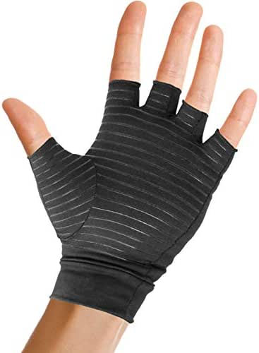 Pivit Copper Arthritis Gloves | Fingerless Compression Glove for Rheumatoid & Osteoarthritis | Cold Hand Hot Glove for Arthritic Joint Pain Symptom Relief | Open Finger for Computer Typing (Large)