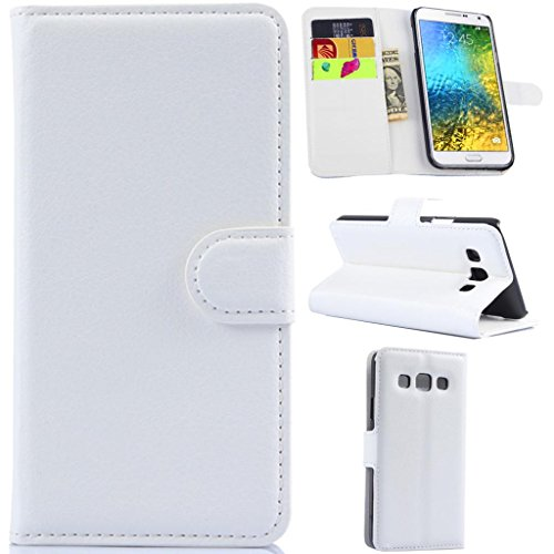 Galaxy E5 Case,Galaxy E5 Wallet Case, Gift_Source (Wallet Function) (White) Premium PU Leather Flip Cover Leather Case for Samsung Galaxy E5 / E500 Sent Stylus Pen