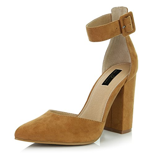DailyShoes Women's Casual Pointed Toe Chunky Ankle Strap Buckle High Heels Sandals, Camel Suede, 8.5 B(M) -