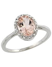 10k White Gold Natural Morganite Ring Oval 8x6 mm Diamond Halo, sizes 5-10