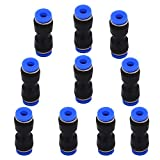 Quick Connect Fittings 4mm Or 5/32 OD - DERNORD 10 Pack Plastic Push to Connect Fittings Tube Straight Connect 4 Mm to 4 Mm Push Fit Fittings Tube Fittings Push Lock