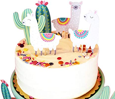 Magnificent Alpaca Cactus Happy Birthday Cake Topper Birthday Twinkle Diy Funny Birthday Cards Online Barepcheapnameinfo