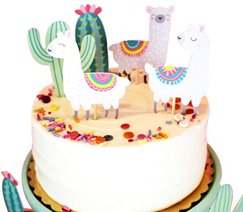 Alpaca Cactus Happy Birthday Cake Topper, Birthday Twinkle DIY Glitter First Birthday Cupcake Topper Cake Smash Candle Alternative Party Handmade