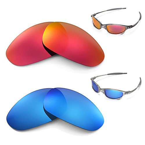 New Walleva Polarized Fire Red + Blue Lenses for Oakley Juliet
