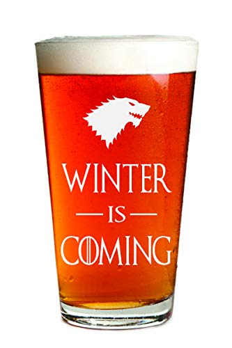 (Winter Is Coming - Engraved Beer Glass - 16oz Clear Pint Glass - Funny Gifts For Men and Women by Sandblast Creations)