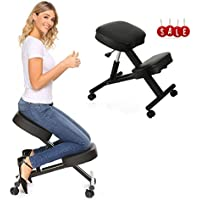 Mophorn Ergonomic Kneeling Chair Height Adjustable Stool Kneeling Chair with Double Thickness Padding Max Capacity 250LBS Perfect for Office or Home Body Shaping and Relieving Stress