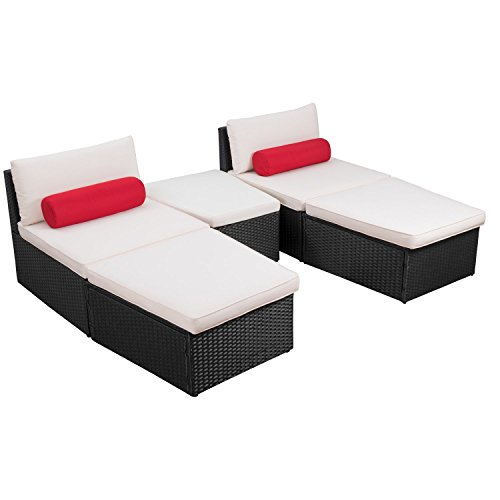 Flamaker 5 Pieces Patio Furniture Sets Modern Outdoor Furniture Set Cushioned PE Wicker Chaise Lounges Rattan Daybed Conversation Sets with Table (Rattan/Black) (Bed Outdoor Lounge)
