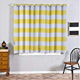 Cheap Efavormart 2 Panels White/Yellow Cabana Stripe Thermal Insulated Blackout Curtains with Chrome Grommet Window Treatment 52″x64″
