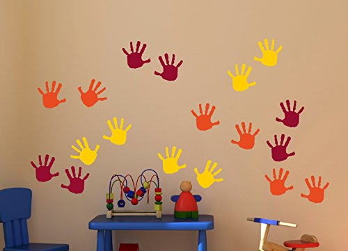 Wall Decor Plus More WDPM3568 Handprint Vinyl Wall Decals Sticker, Great for Classroom, Daycares and Preschool, Orange/Yellow/Red, 18 Piece ()