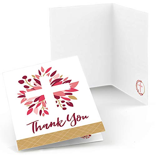 Big Dot of Happiness Pink Elegant Cross - Girl Religious Party Thank You Cards (8 Count) (Pink Confirmation Note Cards)