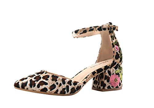 Mila Lady (Phoenix D'Orsay Ankle Strap Floral Embroidered Chunky Elegance Womens Heeled Sandals, Leopard/FL 8 -