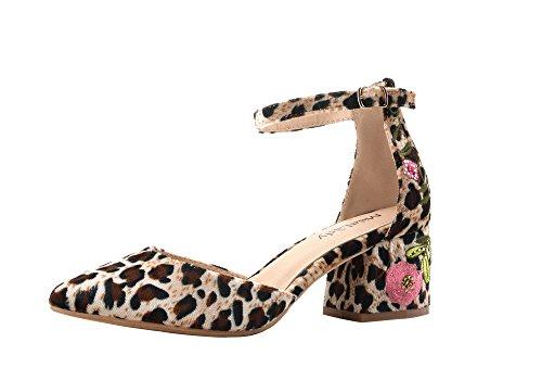 Mila Dam Phoenix Dorsay En Smal Ankelbandet Blommor Broderade Chunky Elegans Plattform Dam Klackar! Leopard / Fl