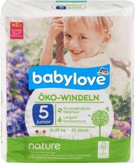 babylove Certificado de pañales Nature – Tamaño 5, junior, 12 – 25 Kg,