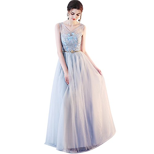 - Prom Dresses Long 2018 Bridesmaid Dresses Long Tull Appliques Evening Cocktail Gowns (6, Grey V Neck)