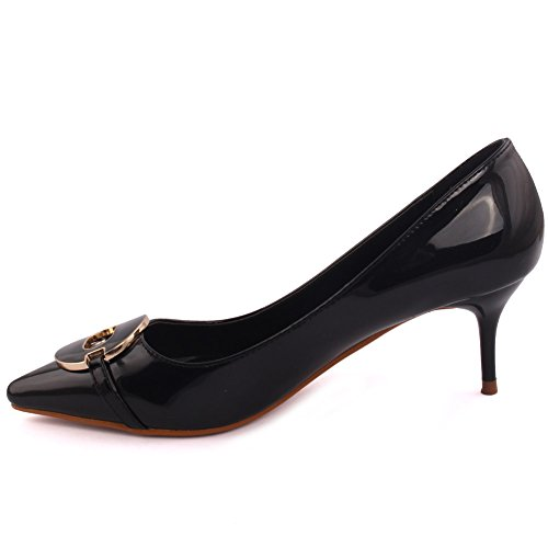 Unze Ladies Women 'Reigning' Pointy Toe Low Mid Heel Evening Dinner Party Carnival Get-Together Court Shoes Size 3-8 Black g1MzxOp