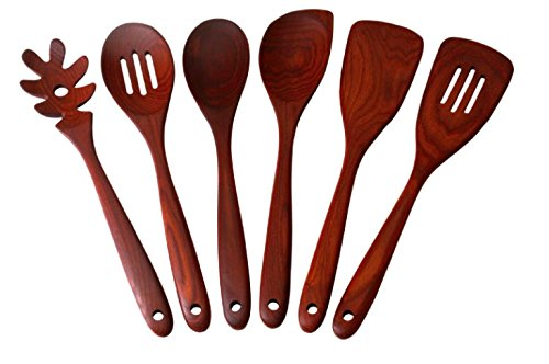 Premium Wooden Kitchen Utensils in Carbonized Ash Wood Set of Six by Sterling Chef