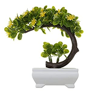 Decorations Artificial China Aster Bonsai Fake Blossom Flower Potted Plant Home Decor Yellow 19