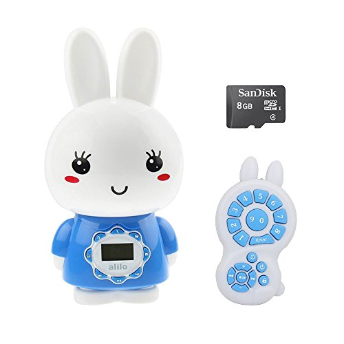alilo Big Bunny Kids MP3 Player with Bedtime Story Teller Toy Lullaby Song - 8GB TF Card / Remote Control / LCD Screen / Night Light for Children (Blue) by alilo