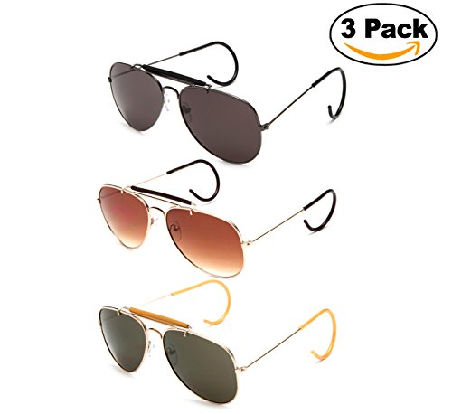 Timeless Classic Aviator Sunglasses with Brow Bar and Cable Wire Wrap Ears Temples For Secure Fit Men - Cable Temple Glasses