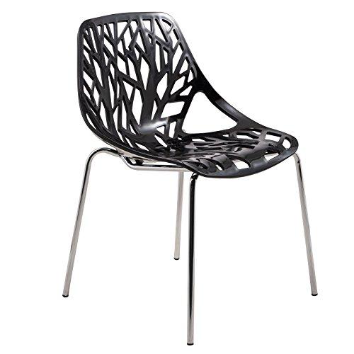LeisureMod Modern Asbury Dining Chair with Chromed Legs, Black