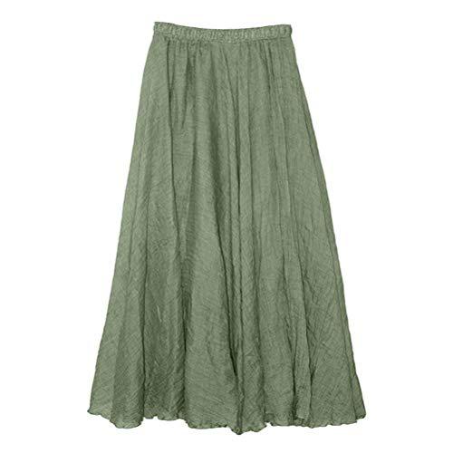 Jupon en lgant Plage Jupe Maxi Ete Coton Lin Femme lastique Longue Solike Vert Jupes Taille Jupe Moulante Longue Bohme Sexy Plisse Femme de USq1wR0