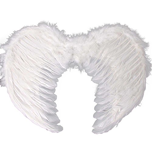White Swan Halloween Costumes (Kids Fairy Angel Wings, Adults Feather Wings for Dress Costume Halloween Party Costume (Large))