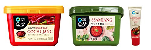 Chung Jung One Sunchang Hot Pepper Paste (Gochujang) 17.6 oz (500g) + Soybean Paste (Ssamjang) 17.6 oz (500g) with 30g Portable Hot Pepper Paste Tube