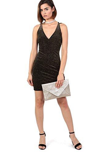 brillo de vestido terciopelo negro PILOT® del mini de bodycon tiras xaPcZHqwv