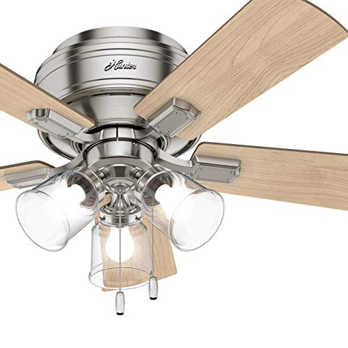 Hunter Fan 42 inch Casual Brushed Nickel Indoor Ceiling Fan with LED Lights (Renewed)
