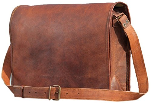 PhoenixCraft Leather Full Flap Messenger Handmade Bag Laptop Bag Satchel Bag Padded Messenger Bag School Bag 15X11X4 Inches Brown …