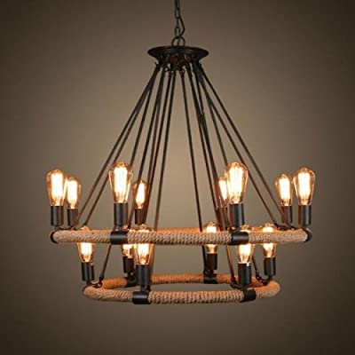 Lightinthebox® Vintage Metal Large Chandelier With 14 Lights Painted Finish Industrial Black Edison Lights Rustic Pendant Ceiling Chandelier