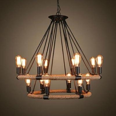 Lightinthebox® Vintage Metal Large Chandelier With 14 Lights Painted Finish Industrial Black Edison Lights Rustic Pendant Ceiling Chandelier