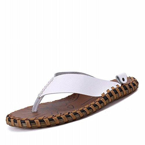 cuciti casual RBB Sandali per a mano infradito bianca estate uomo alla Sandali uomo per moda Pantofole 7wnCzr7qHF