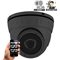 HDView Starlight 3MP IP Network Camera ONVIF PoE, SONY Starvis Back-illuminated Sensor, Infrared Megapixel 2.8mm Wide Angle Lens 3-Axis, P2P Eyeball Dome Grey