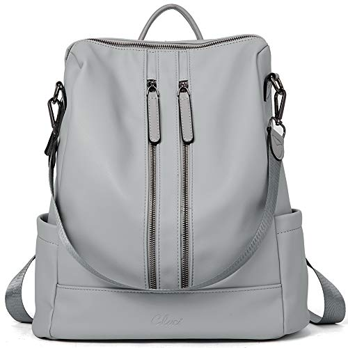 Women Backpack Purse Leather Fashion Travel Large Casual Covertible Ladies Shoulder Bag Light Gray