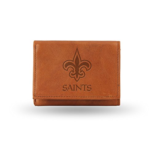 NFL New Orleans Saints Embossed Genuine Leather Trifold Wallet