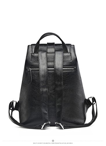 Women Black Vintage Real Genuine Leather Backpack Purse Travel Bag Schoolbag,Travel Shoulder Bag By CLAIRE CC by CLAIRE CC (Image #7)