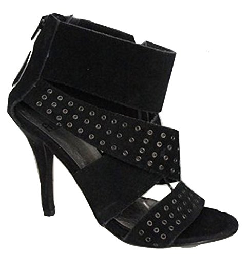 FAITH Real Leather Upper Studded Caged Shoe Black 31dE27ofy