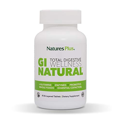 NaturesPlus GI Natural Total Digestive Wellness - 90 Vegetarian Tablets, Bilayer - Natural Gut Health Supplement - Probiotics, Prebiotics, Enzymes - Gluten-Free - 30 Servings