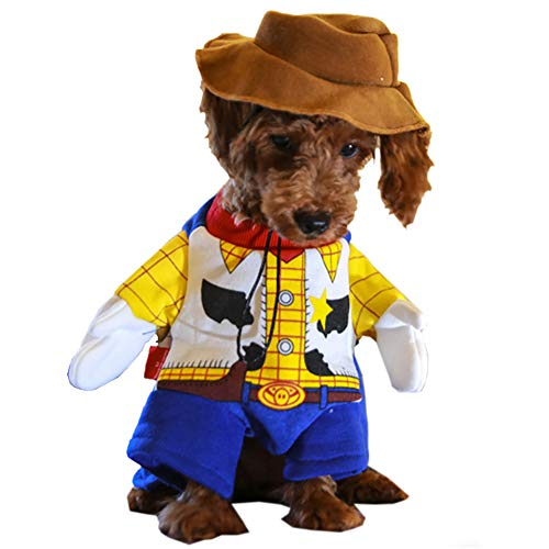 Woody Dog Costume - Toy Story Pet Costume, Cute Cowboy Dog Costume Halloween Dog Cosplay Costume Fashion Dress for Puppy Small Medium Large Dogs Special Events Funny Photo Props Accessories -
